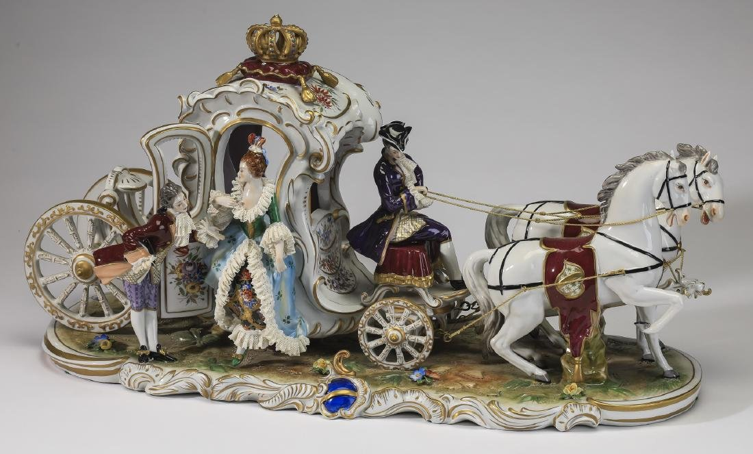 Early 20th c Volkstedt porcelain carriage with couple
