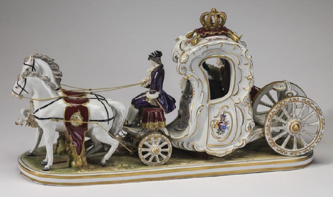 Early 20th c Volkstedt porcelain carriage with couple - 2