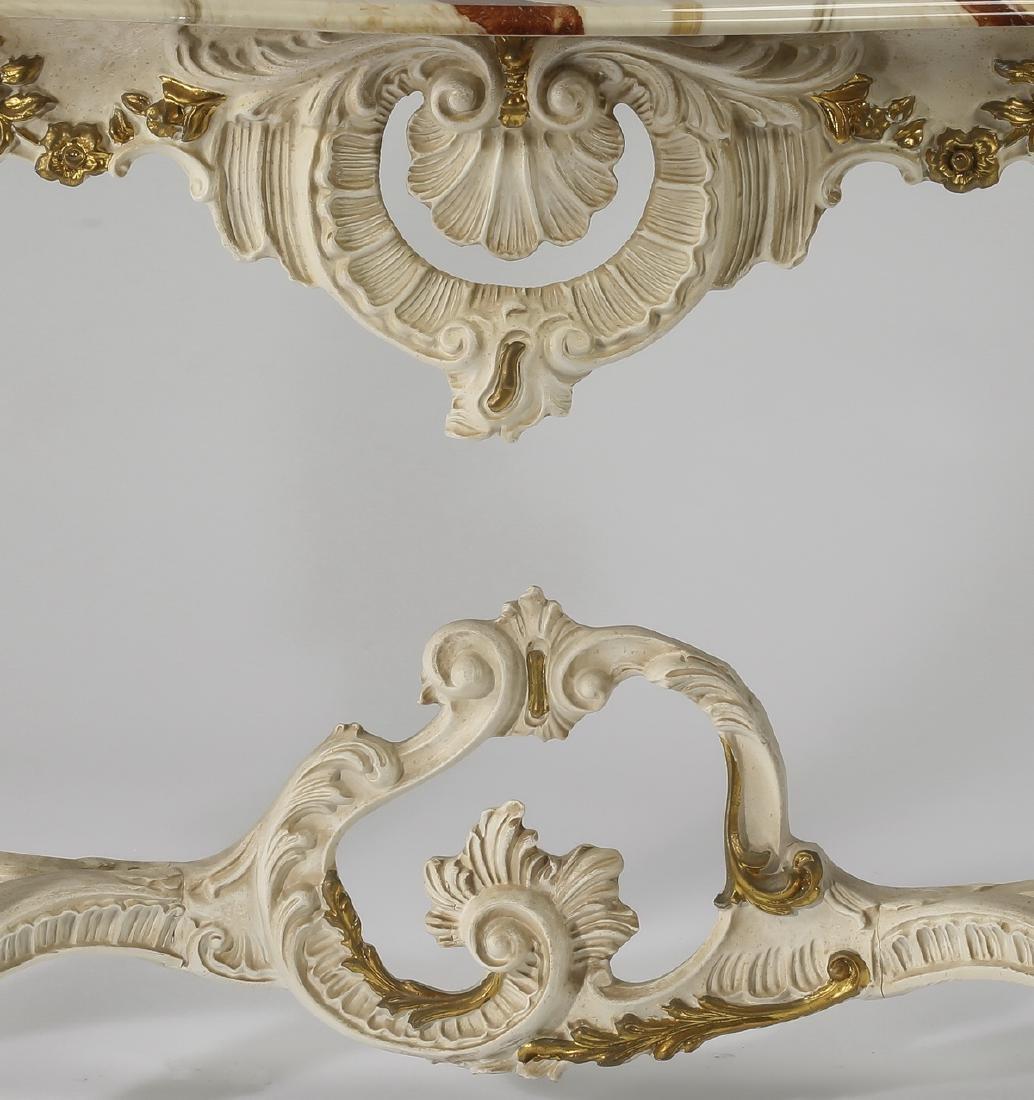 """Louis XV style Italian gessoed wood console, 50""""l - 2"""