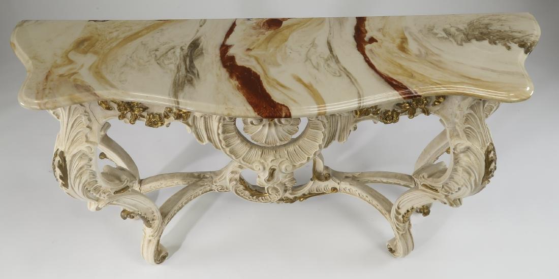 """Louis XV style Italian gessoed wood console, 50""""l - 3"""