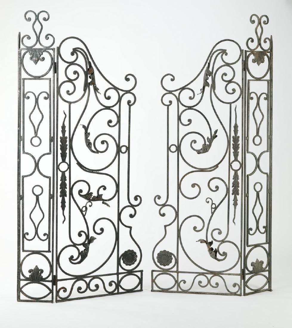 """Pair of French wrought iron garden gates, 67""""w"""