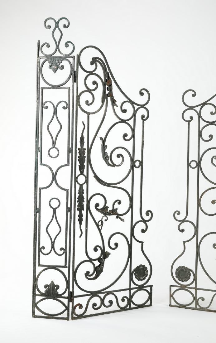 """Pair of French wrought iron garden gates, 67""""w - 2"""