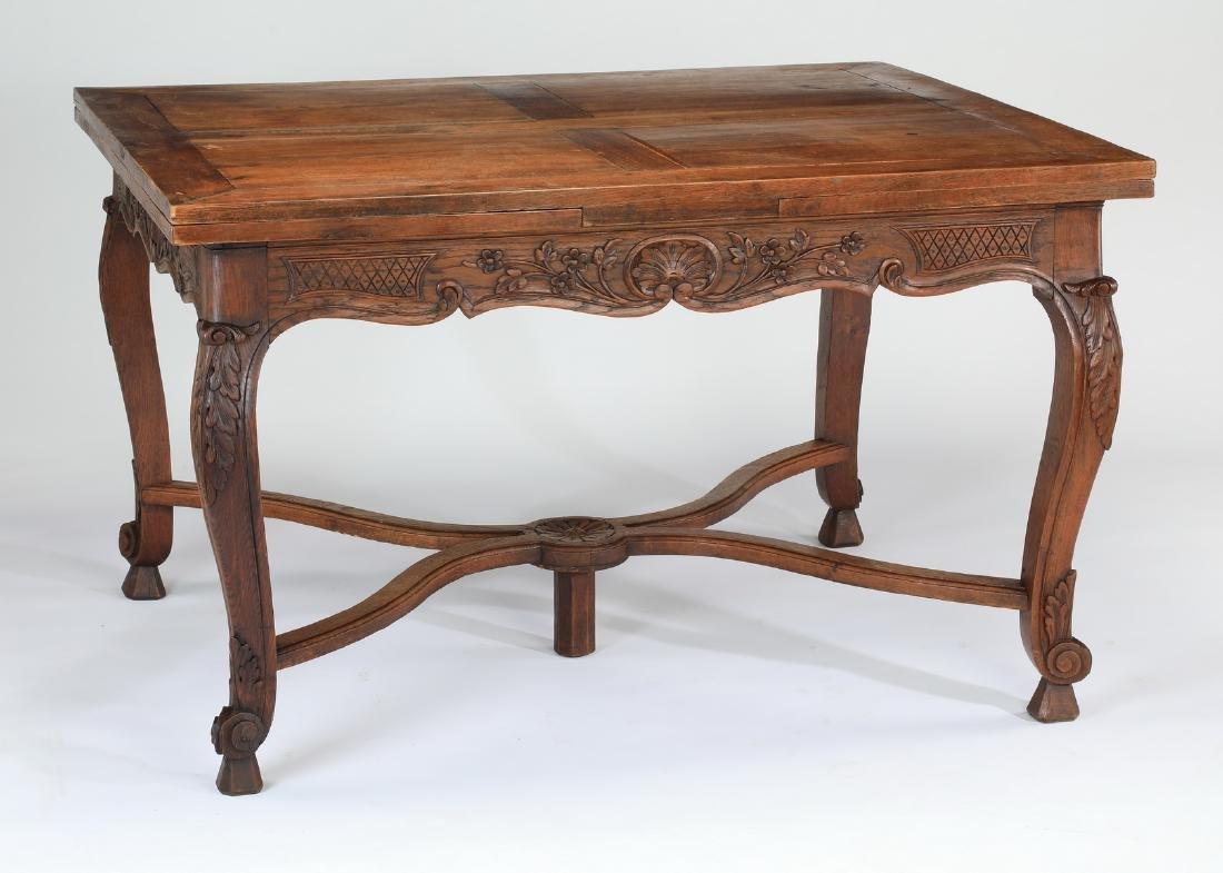 19th c. French Provincial oak draw leaf table