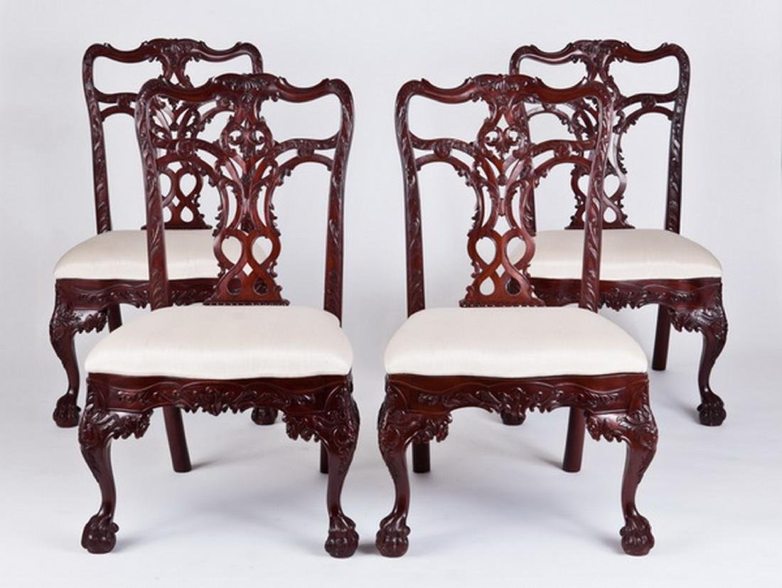 (4) Carved Chippendale style mahogany side chairs
