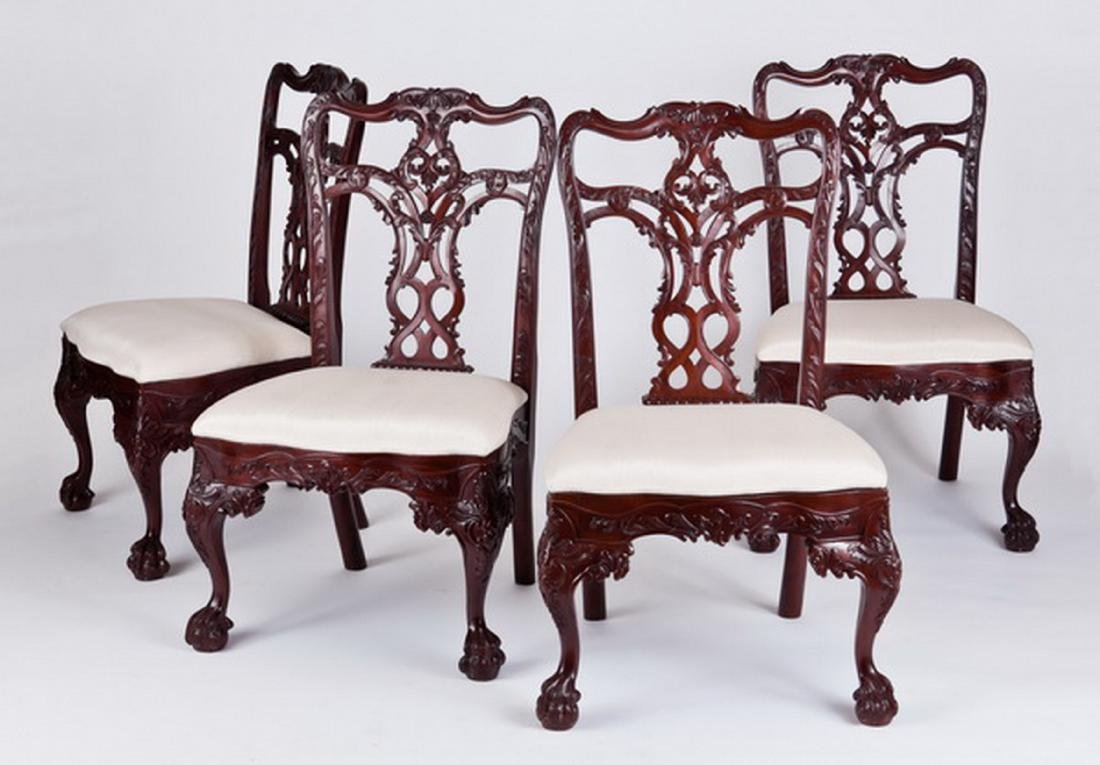 (4) Carved Chippendale style mahogany side chairs - 2