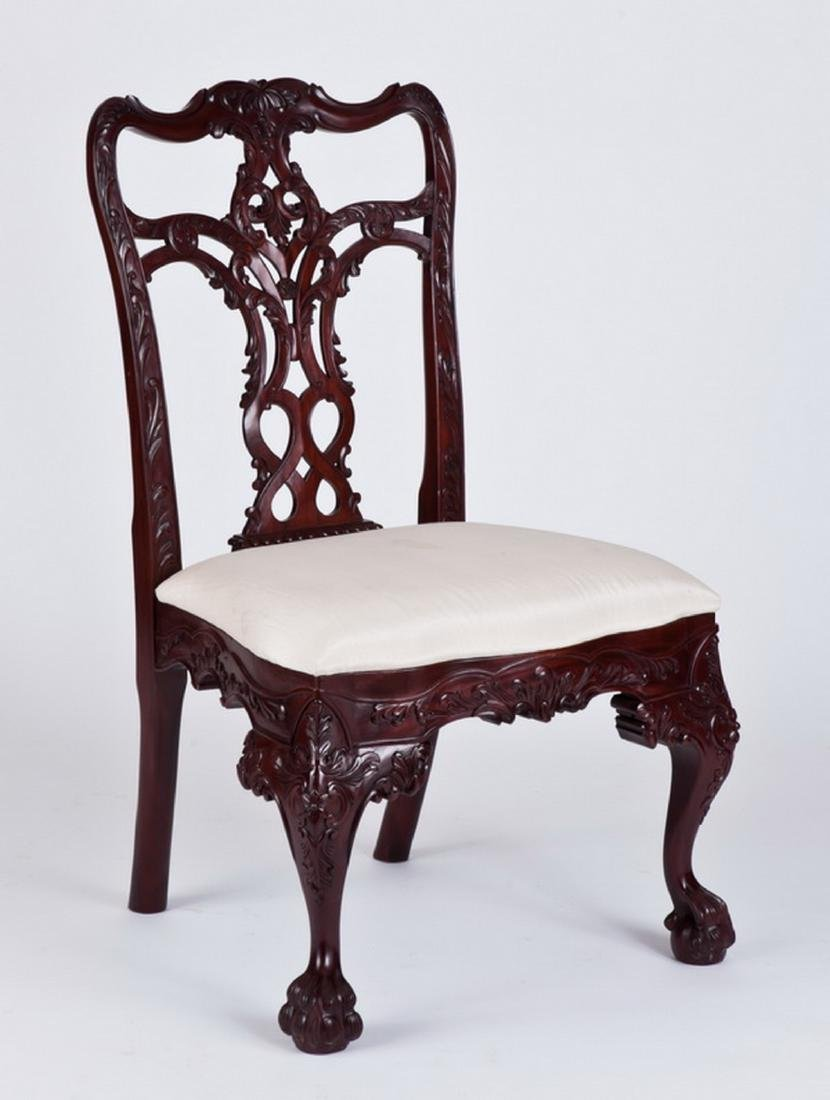 (4) Carved Chippendale style mahogany side chairs - 3