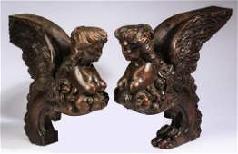 2 19th c carved wood maiden corbels 14h