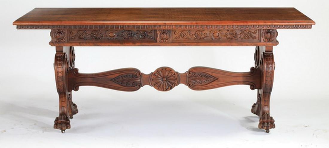 19th c. French carved walnut table w/ paw feet - 3