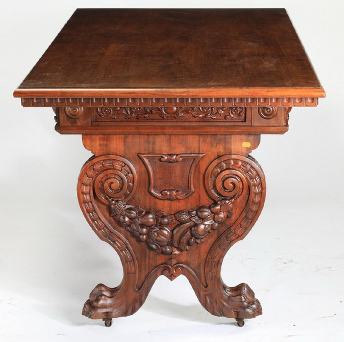 19th c. French carved walnut table w/ paw feet - 5