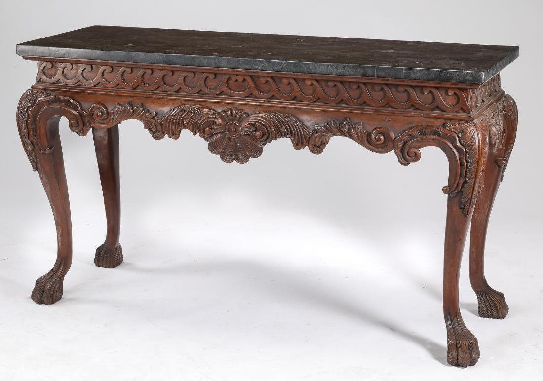 Mahogany console table w/ tesselated marble top