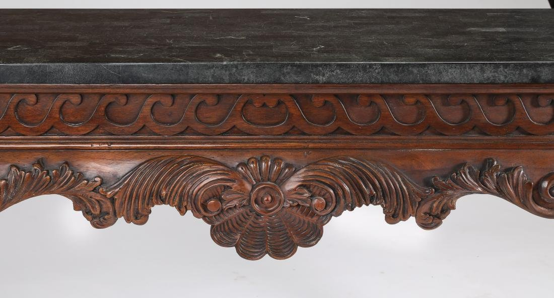 Mahogany console table w/ tesselated marble top - 2