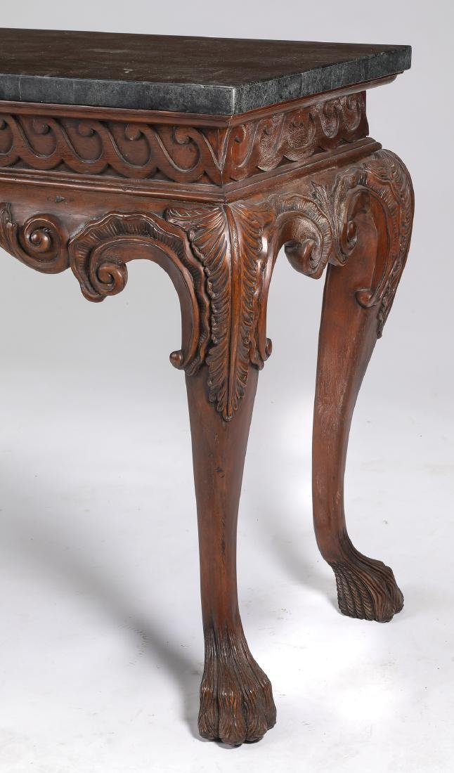 Mahogany console table w/ tesselated marble top - 3