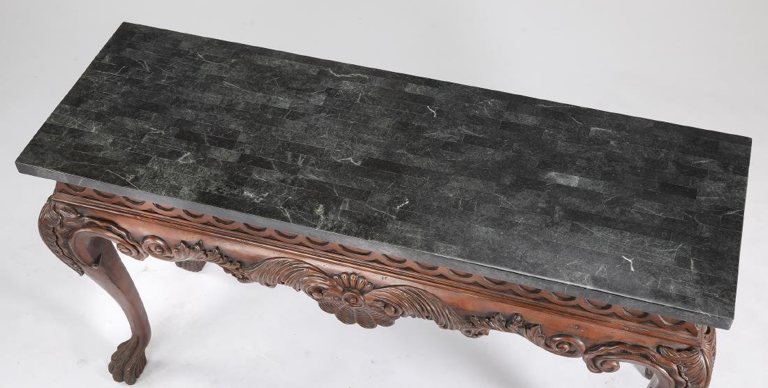 Mahogany console table w/ tesselated marble top - 4