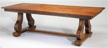 Early 20th c French Provincial oak trestle table