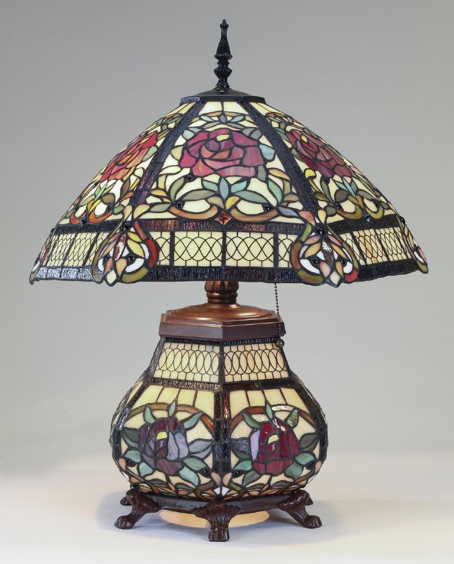 Tiffany style leaded glass lamp w/ illuminated base