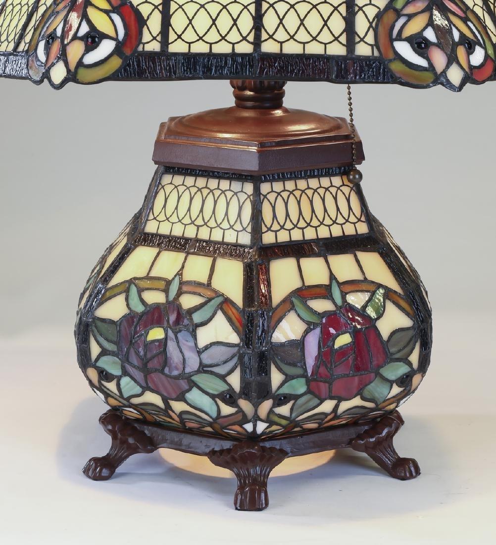Tiffany style leaded glass lamp w/ illuminated base - 3