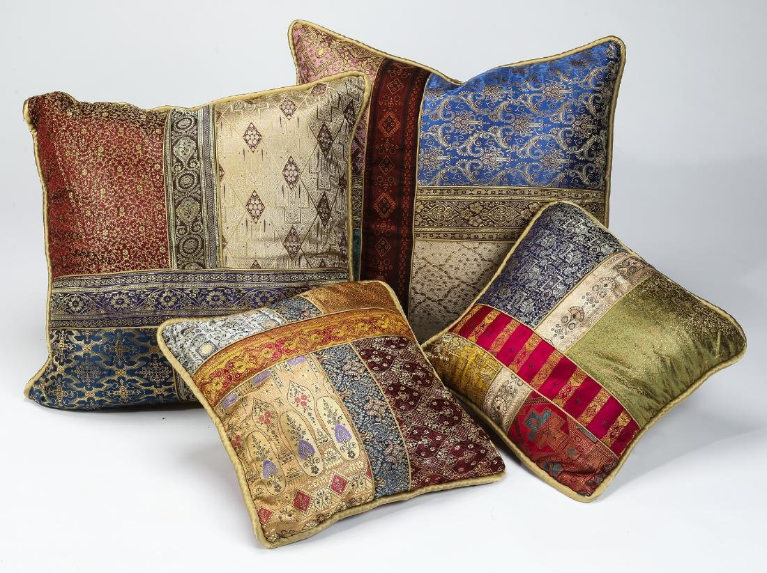 (4) Custom made Indian silk brocade pillows