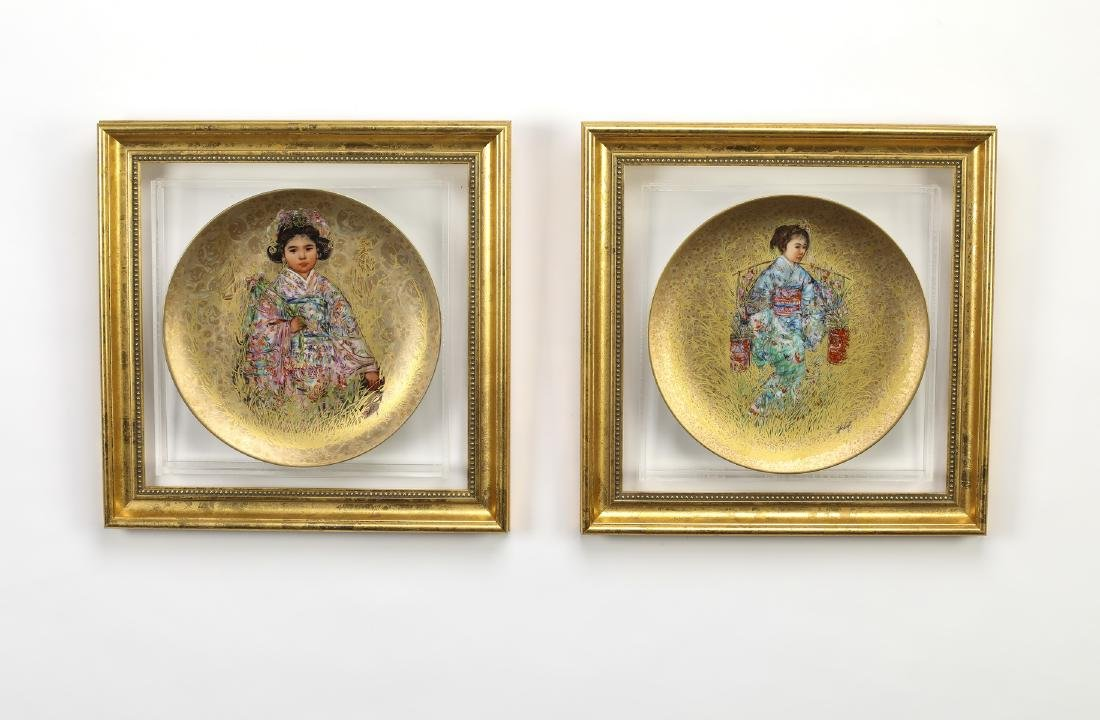 (4) 'Oriental Gold' hand painted plates by Hibel - 2
