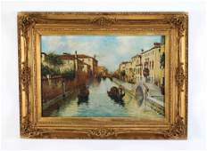 Early 20th c Continental O/c Venetian canal, signed