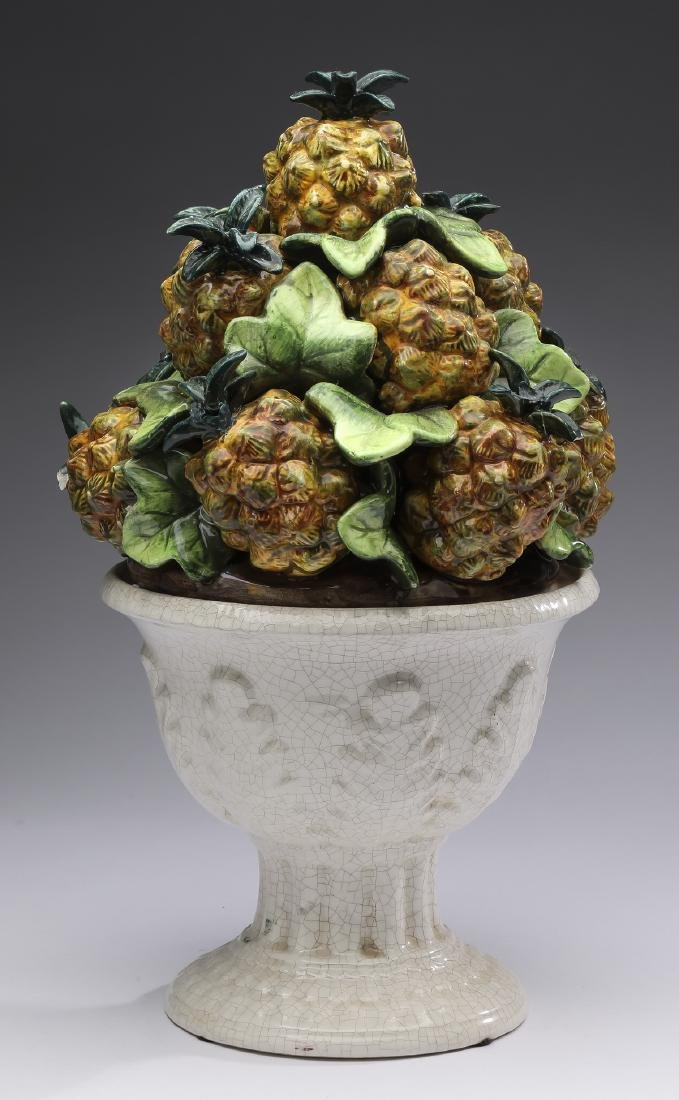 "Capodimonte style ceramic pineapple topiary, 14""h"