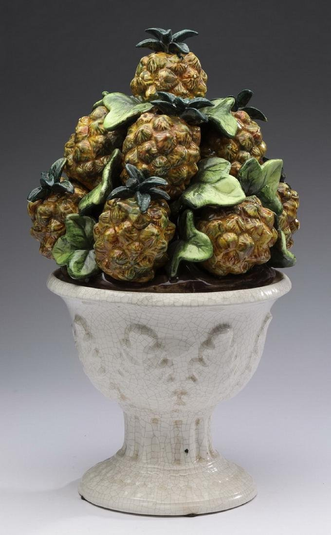 "Capodimonte style ceramic pineapple topiary, 14""h - 2"