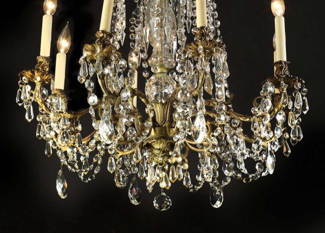 Early 20th c. brass and crystal 8-arm chandelier - 3
