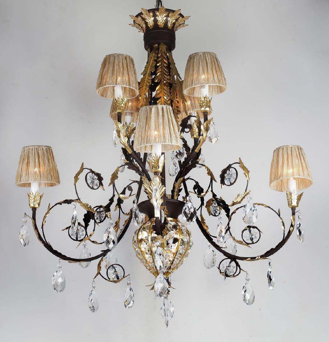 Wrought iron & crystal chandelier w/ organza shades