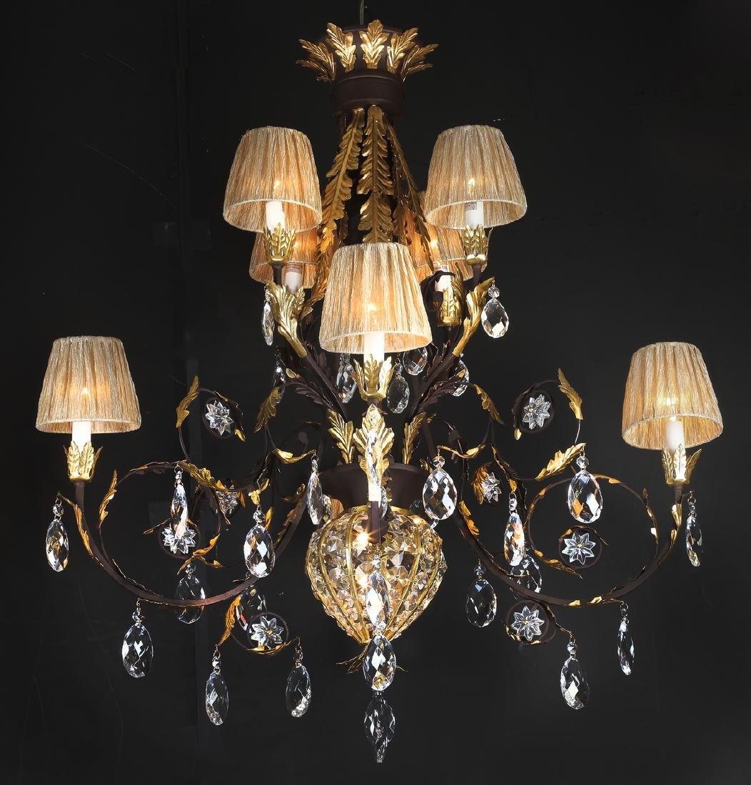 Wrought iron & crystal chandelier w/ organza shades - 2