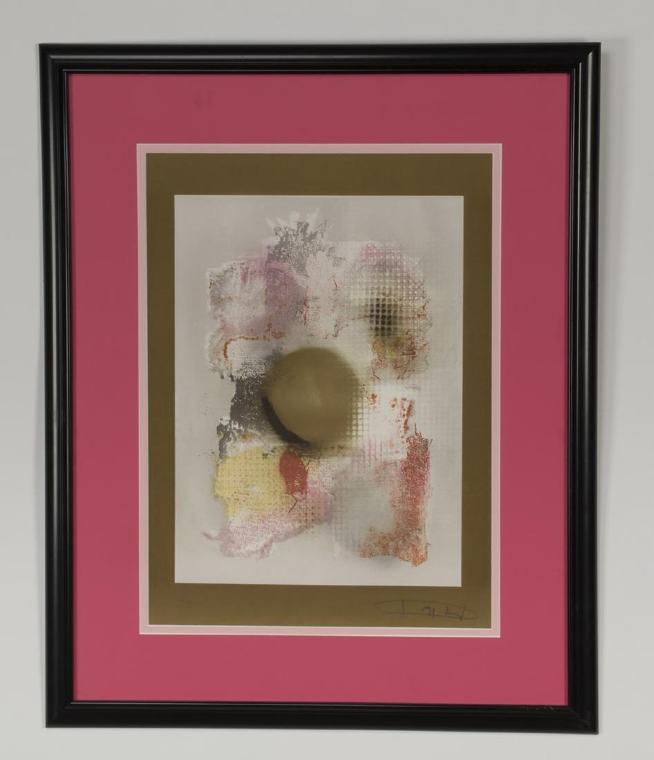 Laszlo Dus abstract lithograph, signed, numbered