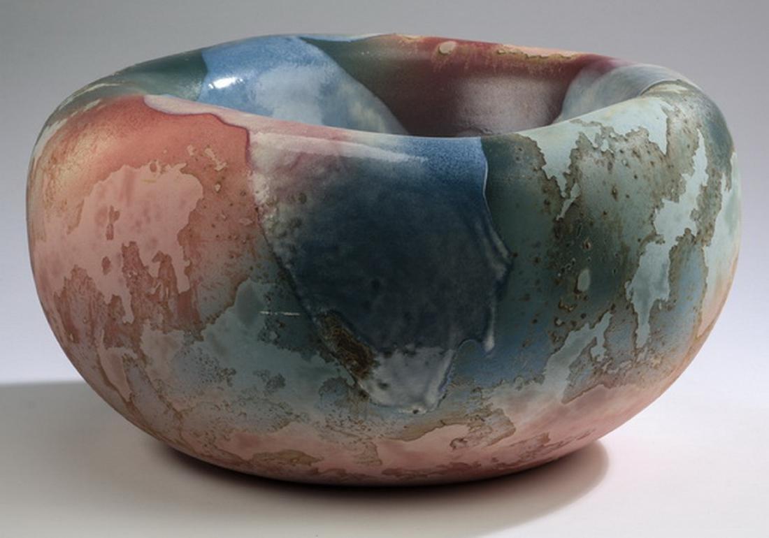 Tony Evans ceramic bowl w/ raku glaze, signed - 4
