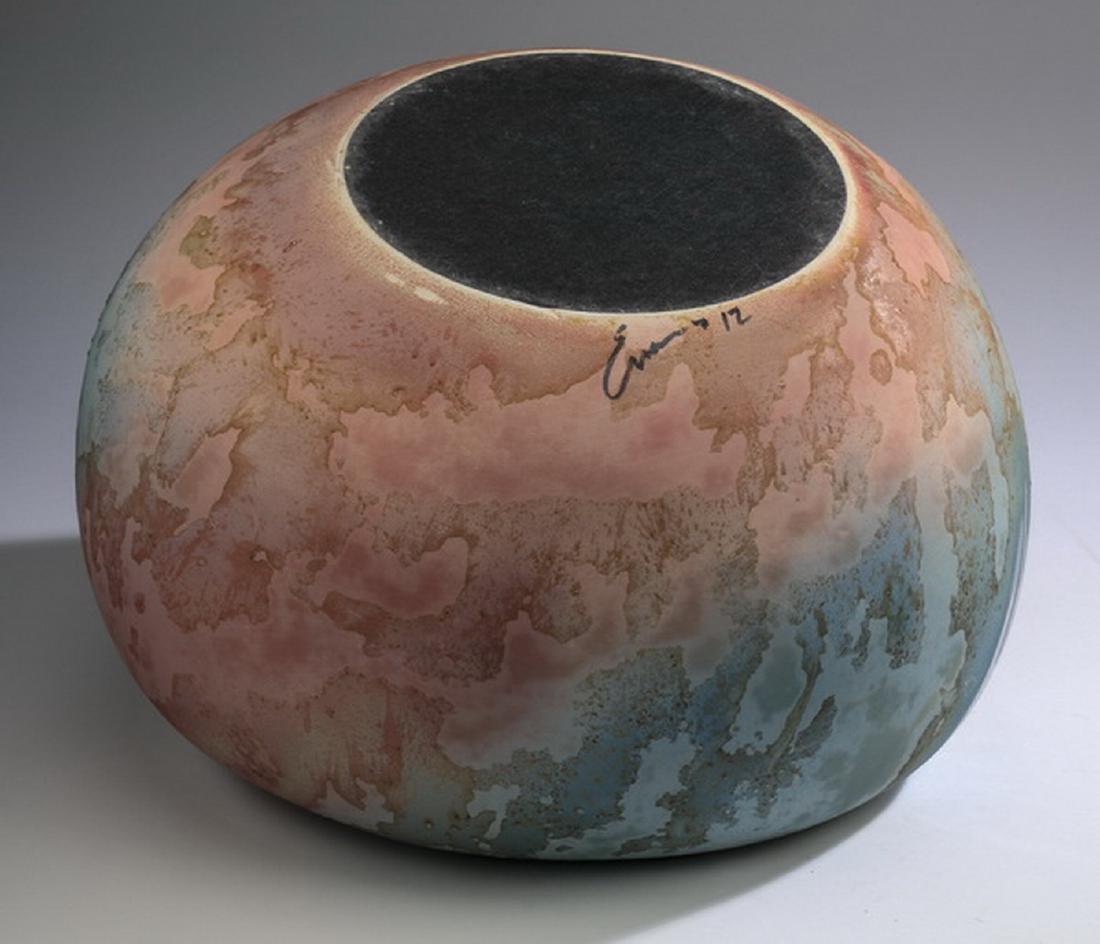 Tony Evans ceramic bowl w/ raku glaze, signed - 6