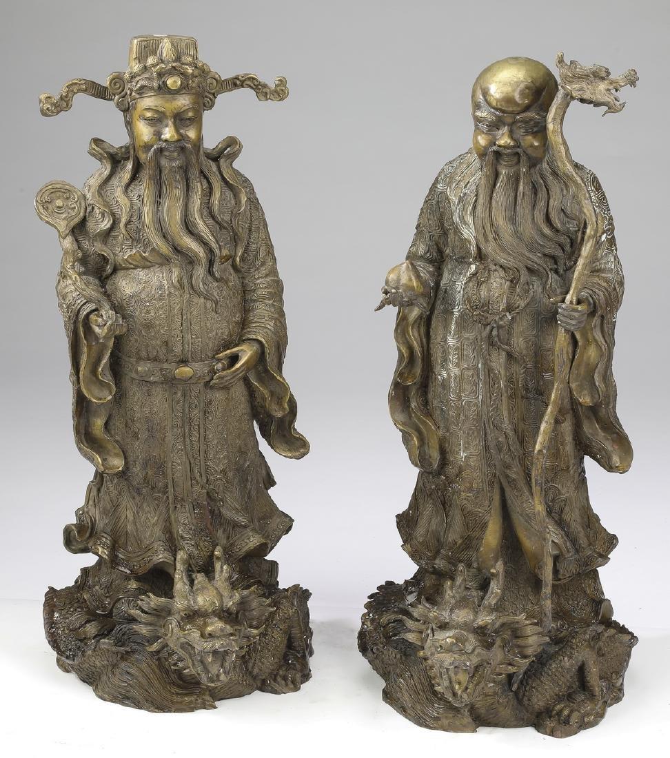 """(2) Chinese bronze star gods, Shou & Lu, 21""""h"""