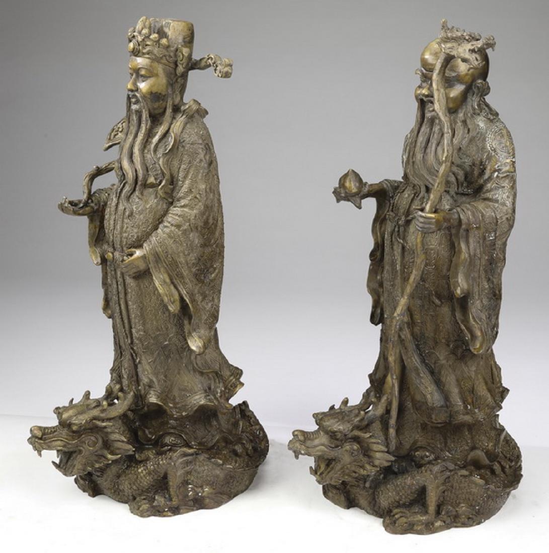 """(2) Chinese bronze star gods, Shou & Lu, 21""""h - 2"""