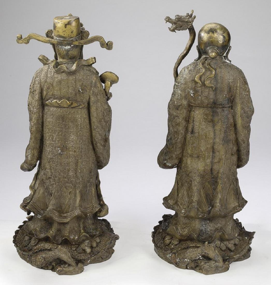 """(2) Chinese bronze star gods, Shou & Lu, 21""""h - 3"""