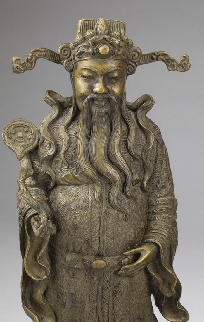 """(2) Chinese bronze star gods, Shou & Lu, 21""""h - 4"""