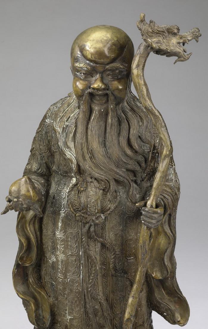 """(2) Chinese bronze star gods, Shou & Lu, 21""""h - 5"""