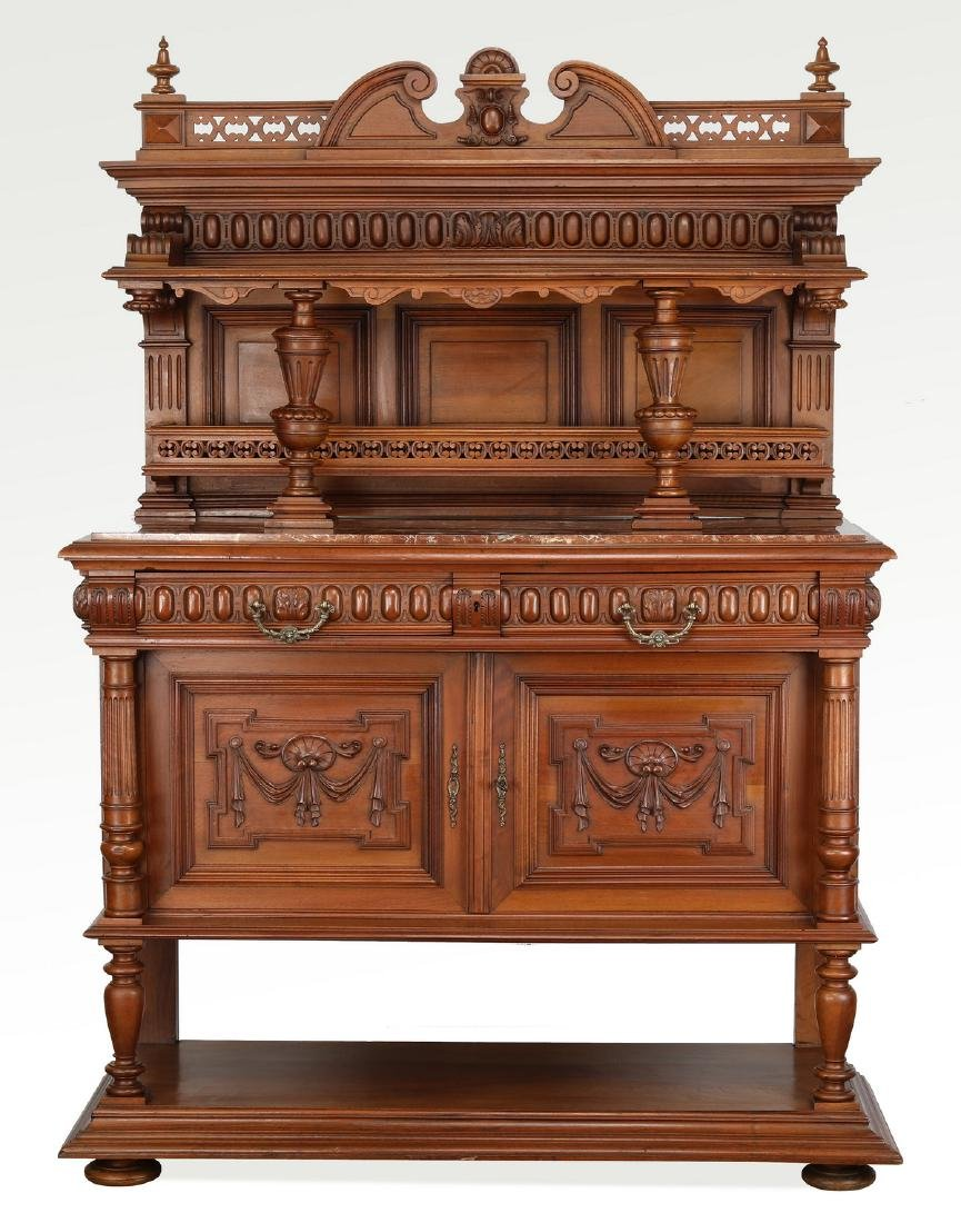 19th c. French walnut marble top buffet