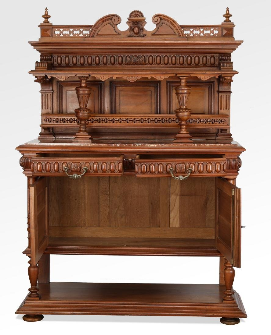 19th c. French walnut marble top buffet - 2