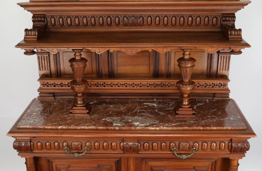 19th c. French walnut marble top buffet - 3