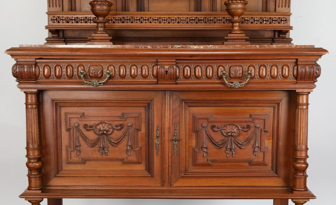 19th c. French walnut marble top buffet - 4