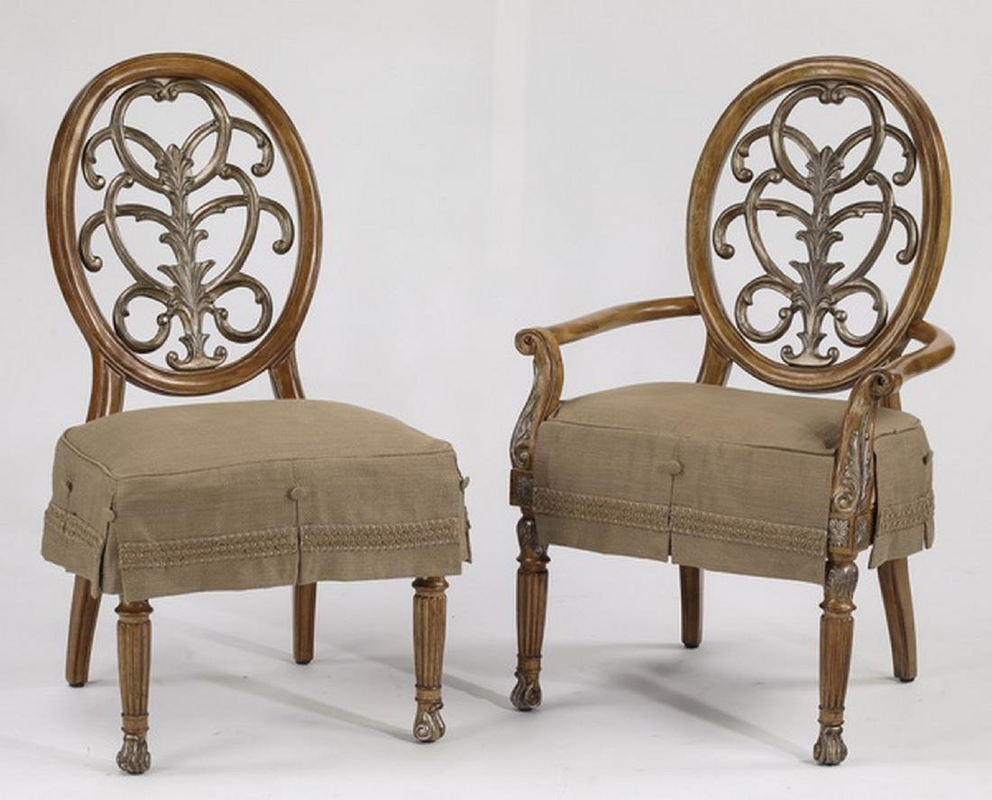 (6) Carved balloon back slip covered dining chairs - 2