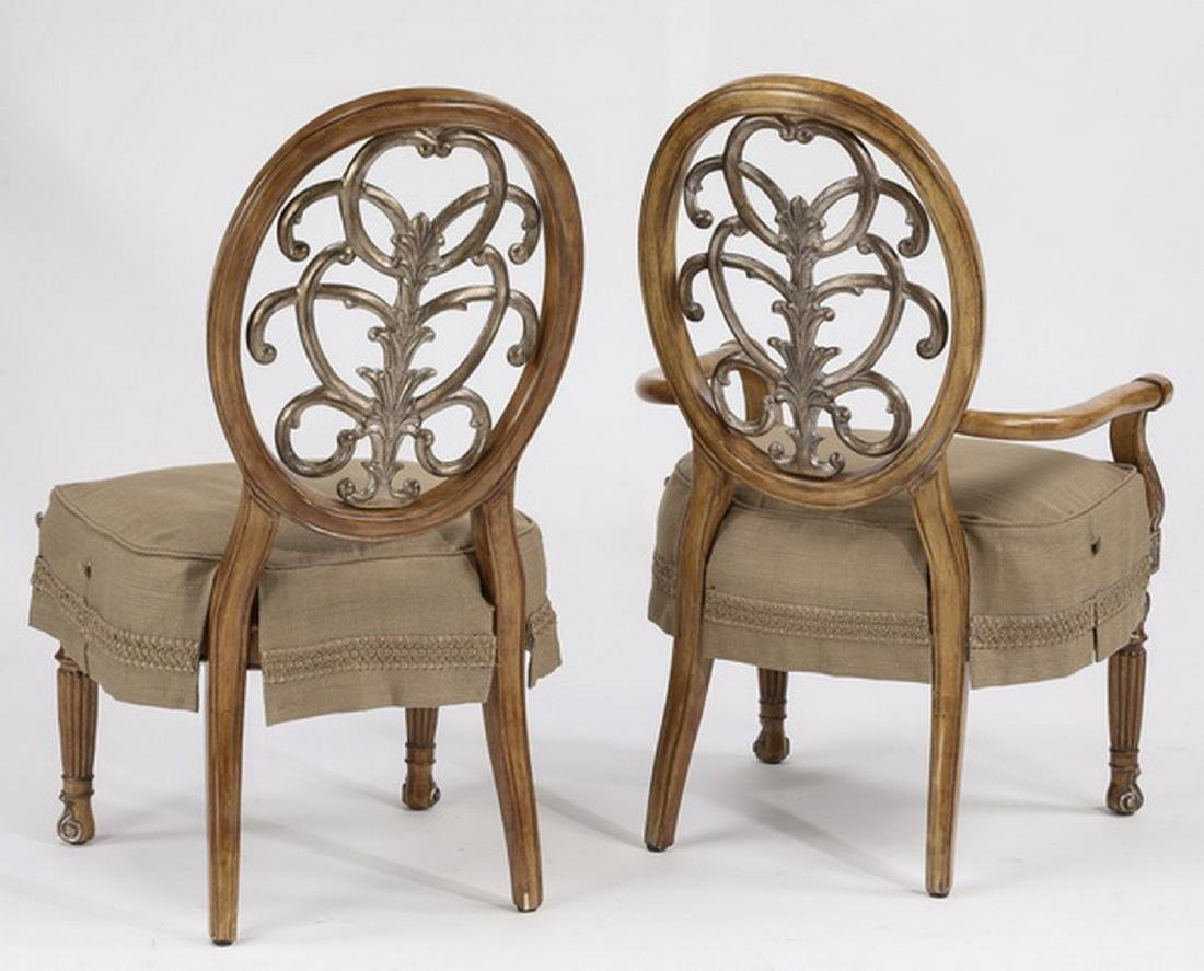 (6) Carved balloon back slip covered dining chairs - 3