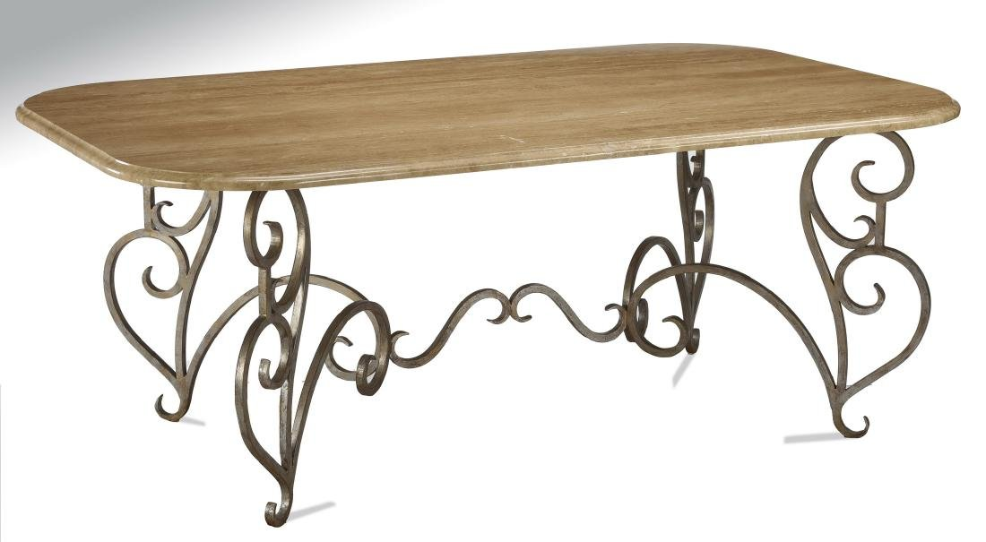 "French inspired travertine & wrought iron table, 77""l"