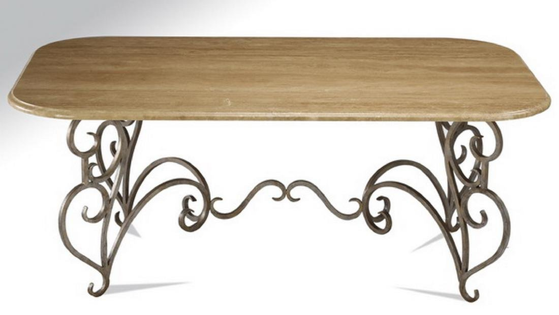 "French inspired travertine & wrought iron table, 77""l - 2"