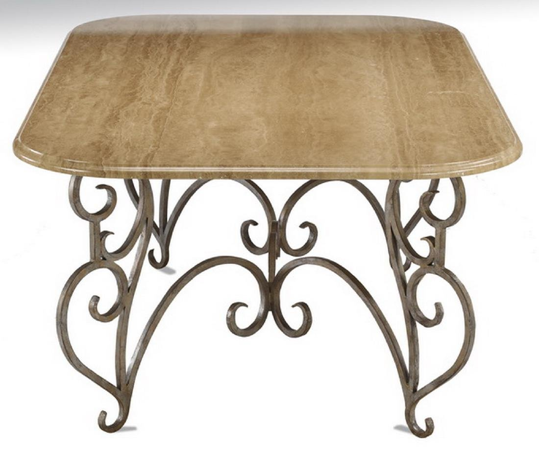 "French inspired travertine & wrought iron table, 77""l - 3"