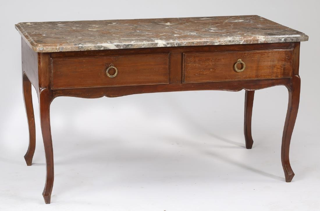 19th c. French walnut marble top console or desk