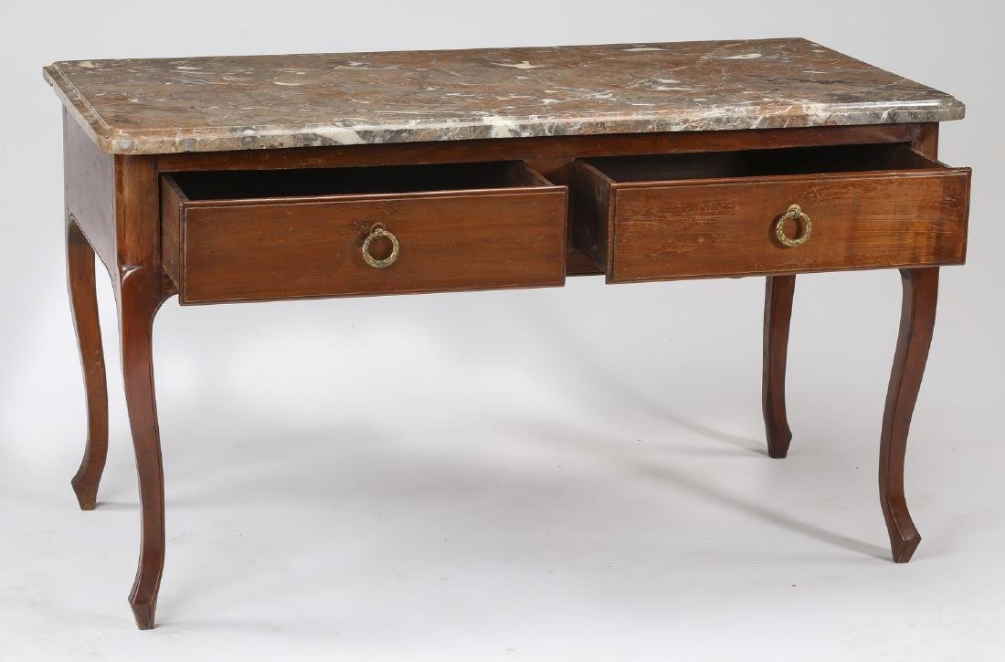 19th c. French walnut marble top console or desk - 2