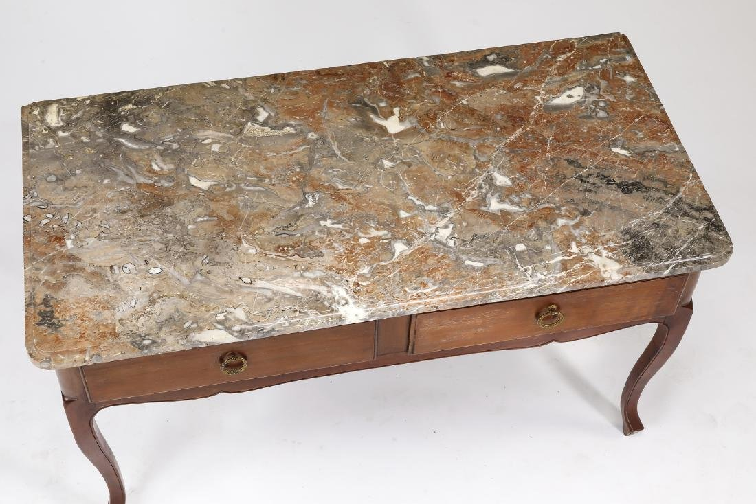 19th c. French walnut marble top console or desk - 3