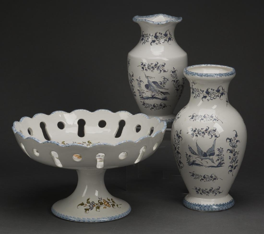 3 Piece Grouping Of French Moustiers Faience
