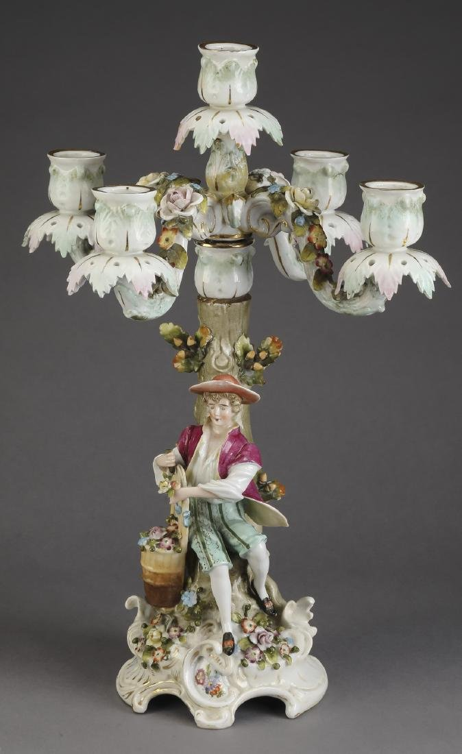 Sitzendorf figural porcelain candelabrum, marked